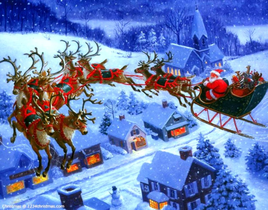 Merry Christmas Santas Sleigh Wallpaper Like Wallpapers
