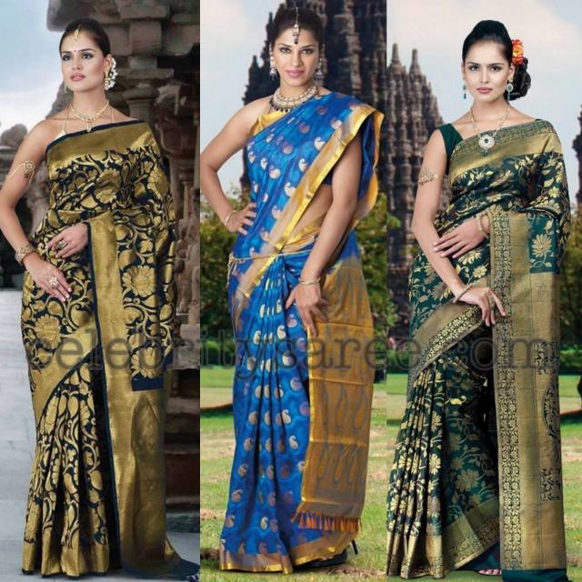 500bc1f87bdce Models showcasing heavy work and rich look banarasi silk wedding sarees.  Left  Navy blue silk bridal banarasi silk wedding sari teamed with pure  gold jari ...