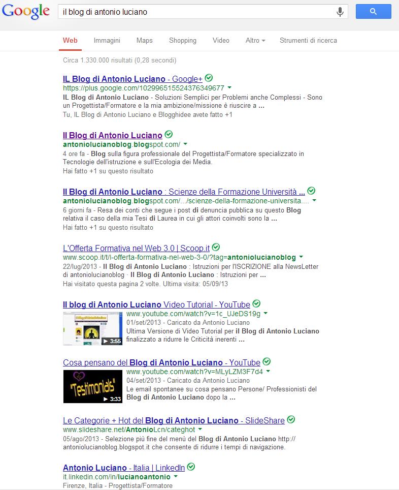 blog Antonio Luciano posizionamento google