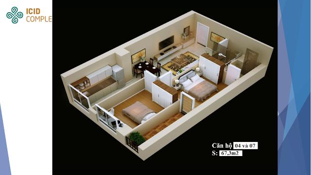 Thiết kế căn hộ 04 - 07 chung cư ICID COMPLEX