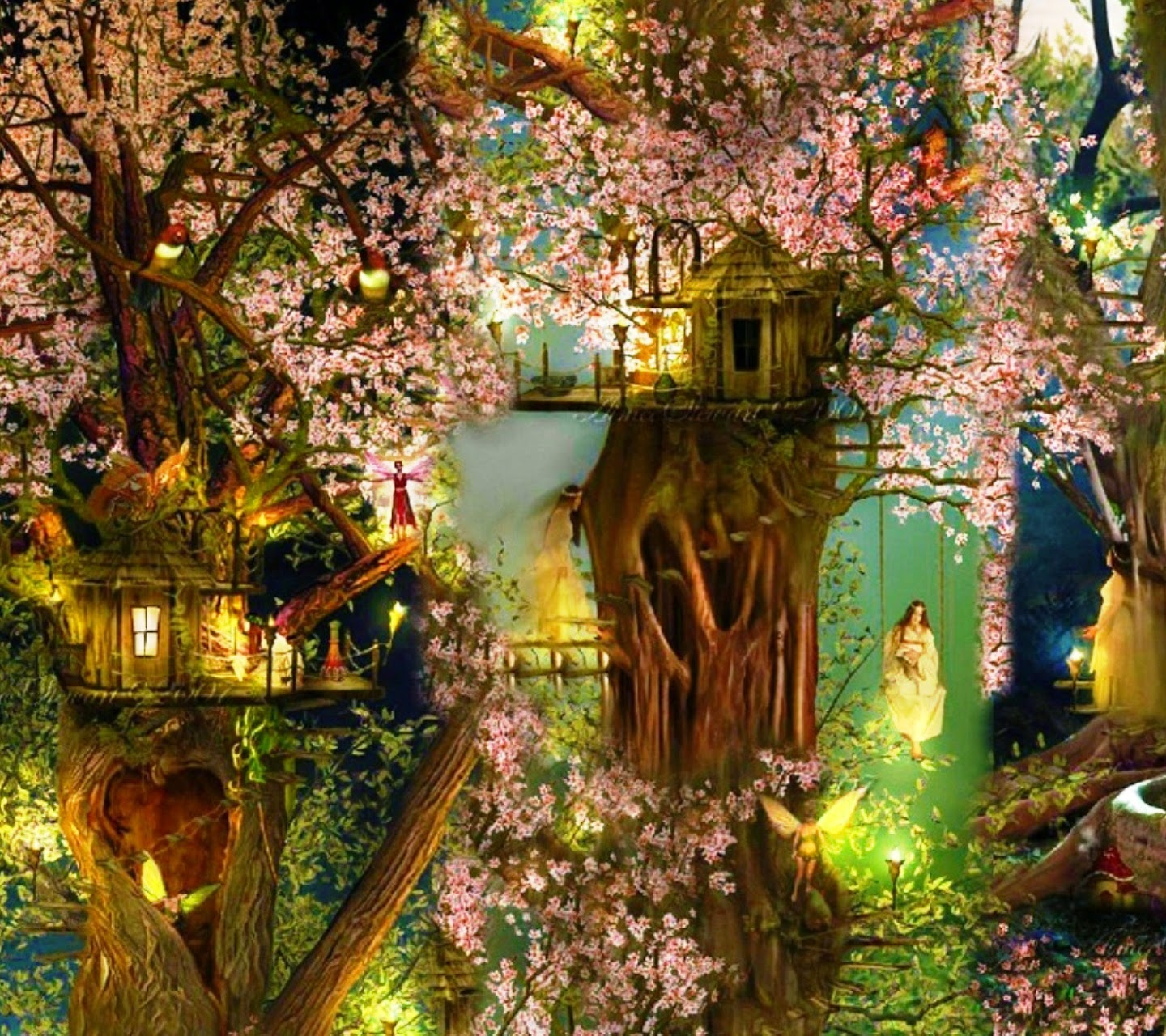 Beautiful Tree House fantasy fairy tale images pictures HD ...