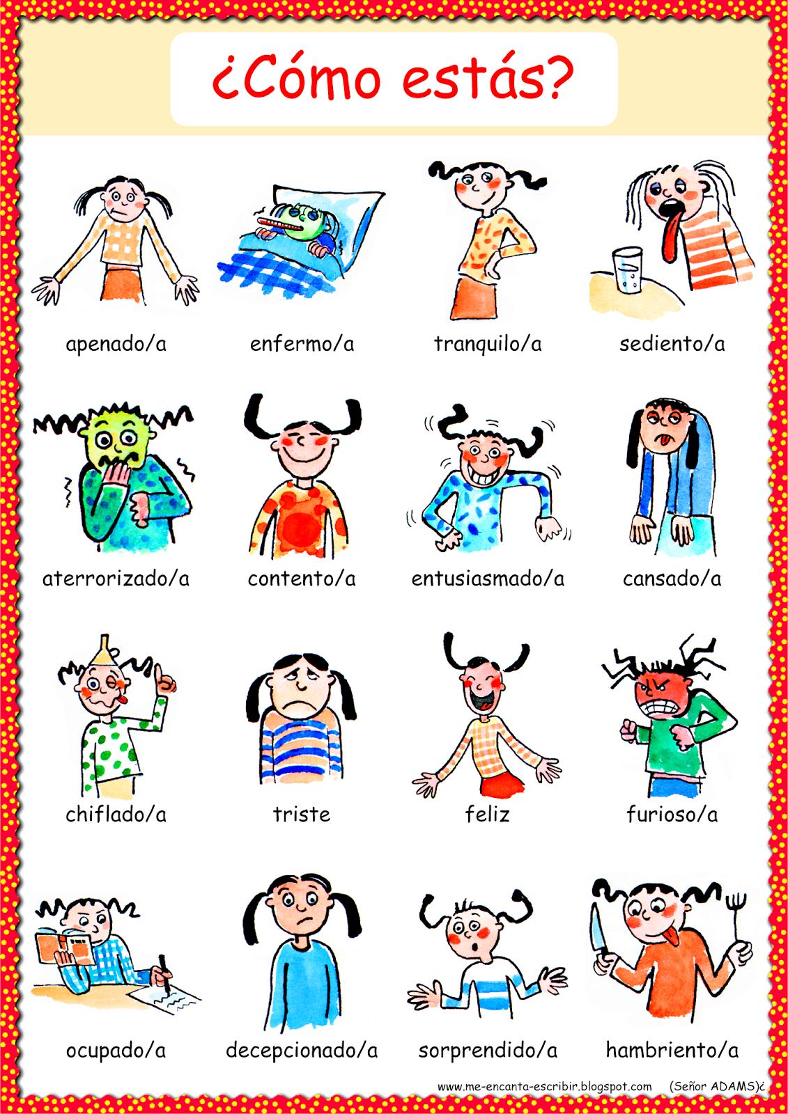 Me Encanta Escribir En Espanol Como Estas Como Te Sientes Adjetivos