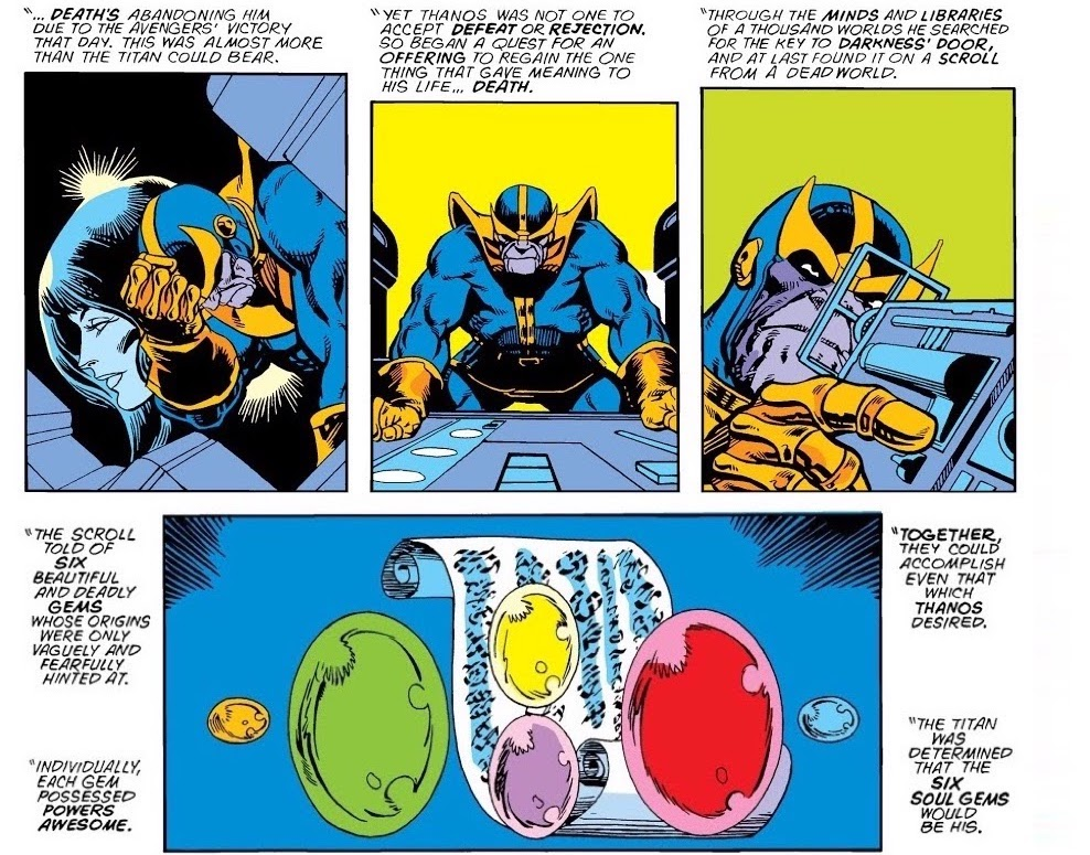 Panels of Thanos despondent, then determined, followed by panel of Infinity Gems floating around scroll with alien writing; narration describes Thanos' search for power like theirs