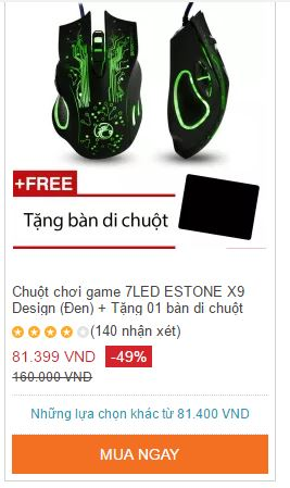 Chuột chơi game 7LED ESTONE X9 Design (Đen)