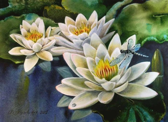 Акварельные рисунки цветов. Валентина Валевская 13