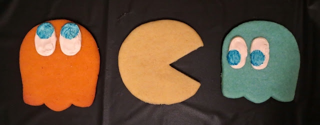 Retro Video Game Pac-Man & Ghost Sugar Cookies - Clyde, Pac-Man, & Inky