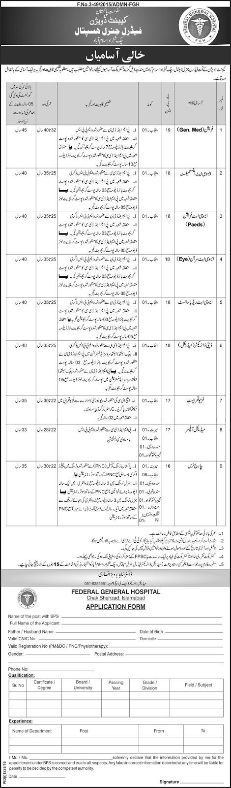Federal General Hospital Islamabad Madical Jobs