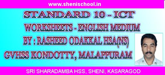 SRI SHARADAMBA HS SHENI: SSLC ICT WORKSHEETS - ENGLISH MEDIUM(20 ...