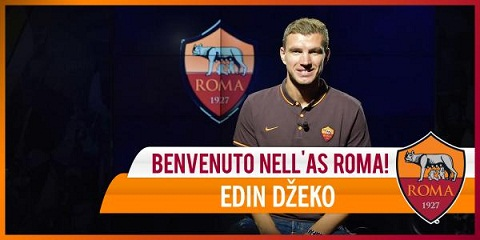 Chân sút Edin Dzeko đã chính thức đến sân Olimpico thi đấu cho AS Roma.