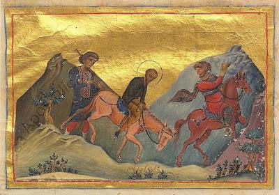 Μικρογραφία Minologiya Vasiliya II. Κωνσταντινούπολη. 985 Βατικανό Βιβλιοθήκη. Ρώμη John_Chrysostom_in_exile_(Menologion_of_Basil_II)