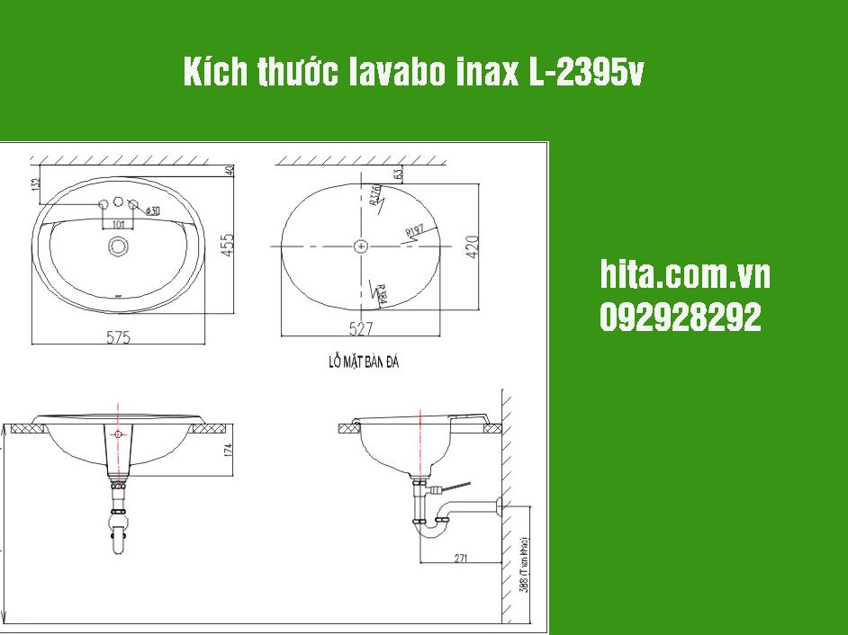 Kích thước lavabo inax l-2395v giá gốc, bảo hành chính hãng 2018
