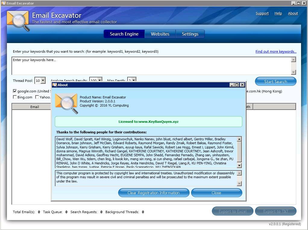 Email Excavator 2.0.0.1 Full Key, Phần mềm hỗ trợ thu thập Email.
