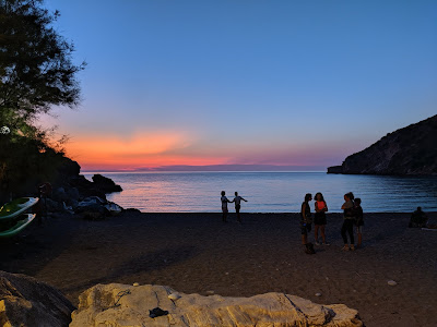 View of Nisportino beach sunset.