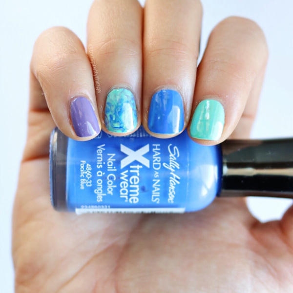 Smooshy Nail Art - Sally Hansen Pacific Blue Original Shade - Tori's Pretty Things Blog