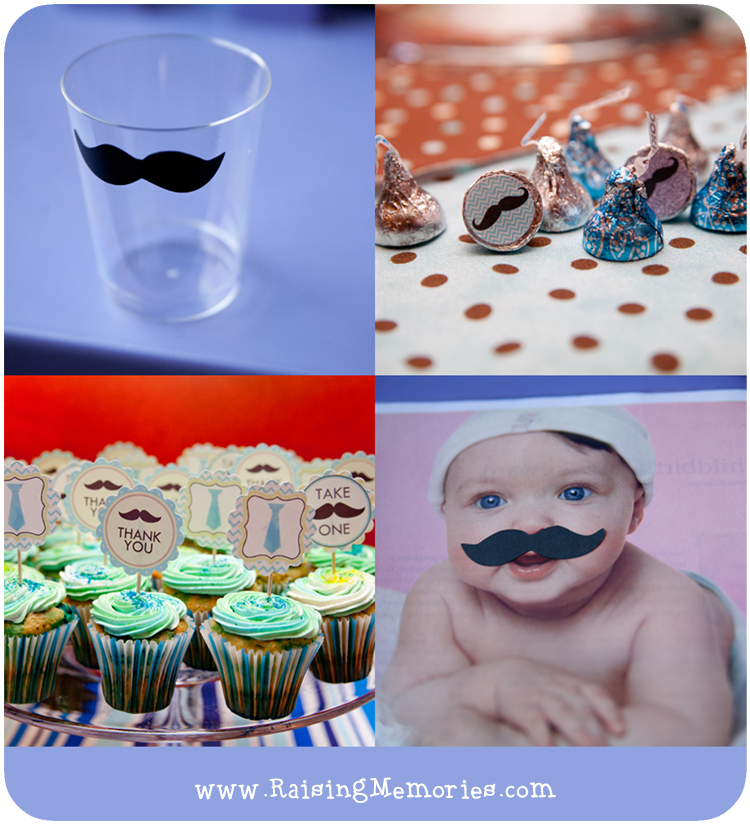Cupcake Toppers, Hershey Kiss Labels, Mustache Party Cups, and Pin-the-Mustache-on-theBaby at www.RaisingMemories.com
