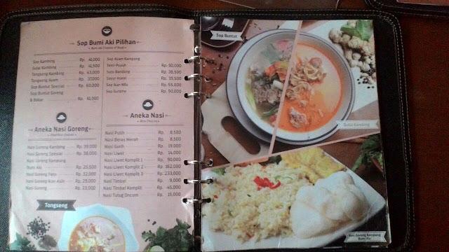 Menu makanan Aneka Nasi, Sip, dan Nasi Goreng Bumi Aki