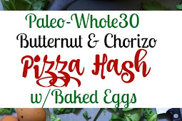 Chorizo Butternut Pizza Hash with Baked Eggs {Paleo}