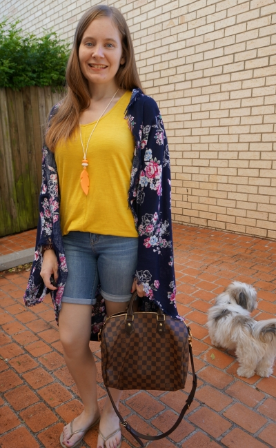 navy floral cocoon kimono bermuda denim shorts, mustard tank and speedy bandouliere | awayfromblue