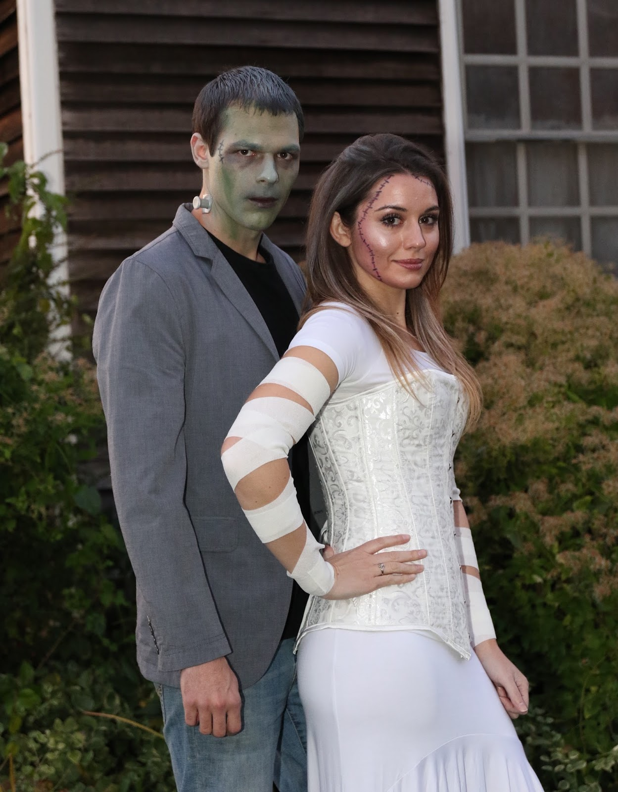classy Frankenstein's monster and his bride costumes