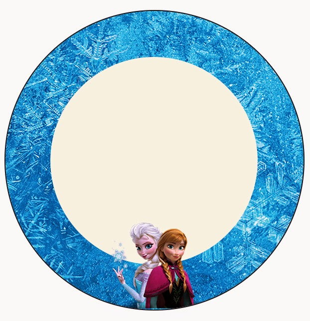 Toppers o etiquetas de Frozen Azul y Purpura para imprimir gratis.