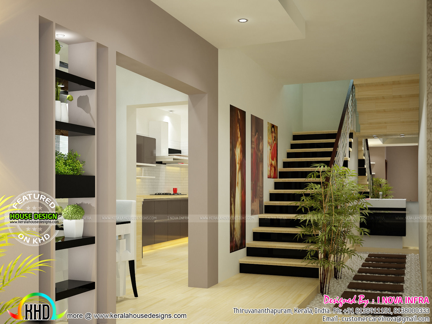 Balcony, dining, bedroom and staircase interior - Kerala ...