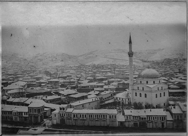 Bitola under snow – January 1917 - Panoramic photo taken from Bitola Clock Tower with Isak Mosque nearby – view toward north