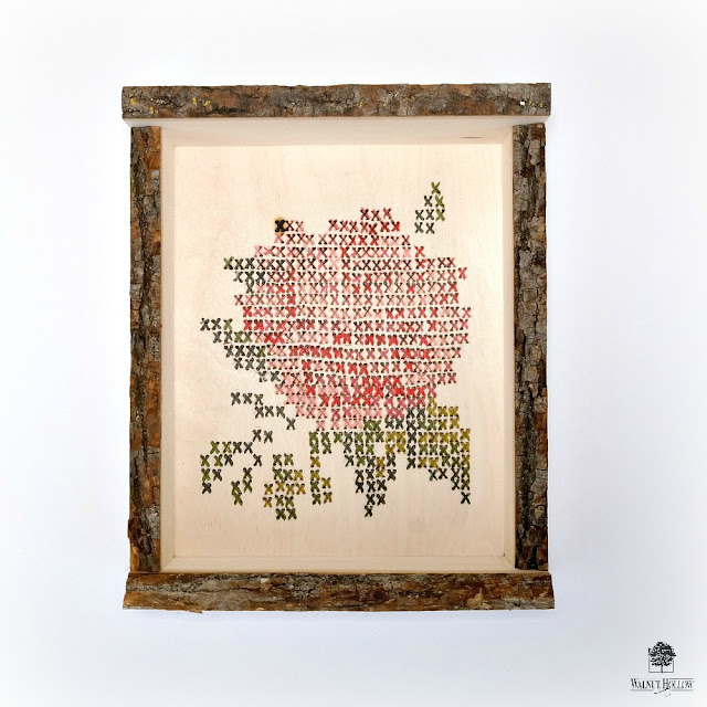 Faux Cross-Stitch Wood Burned Hygge Box by Dana Tatar for Walnut Hollow