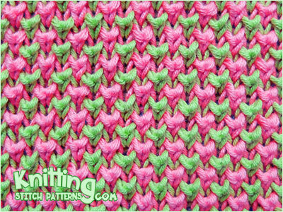 Two Color Bee Stitch Knitting Stitch Patterns