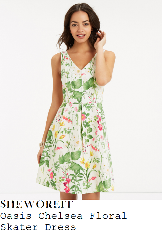 vicky-pattison-oasis-white-green-pink-red-and-yellow-chelsea-floral-garden-print-sleeveless-v-neck-high-waisted-skater-dress