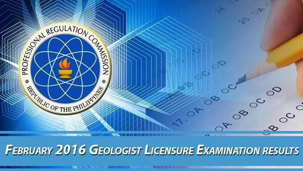 PRC Geologist February 2016 Board Exam Results