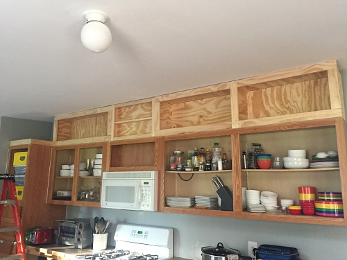 DIY shelves above cabinets