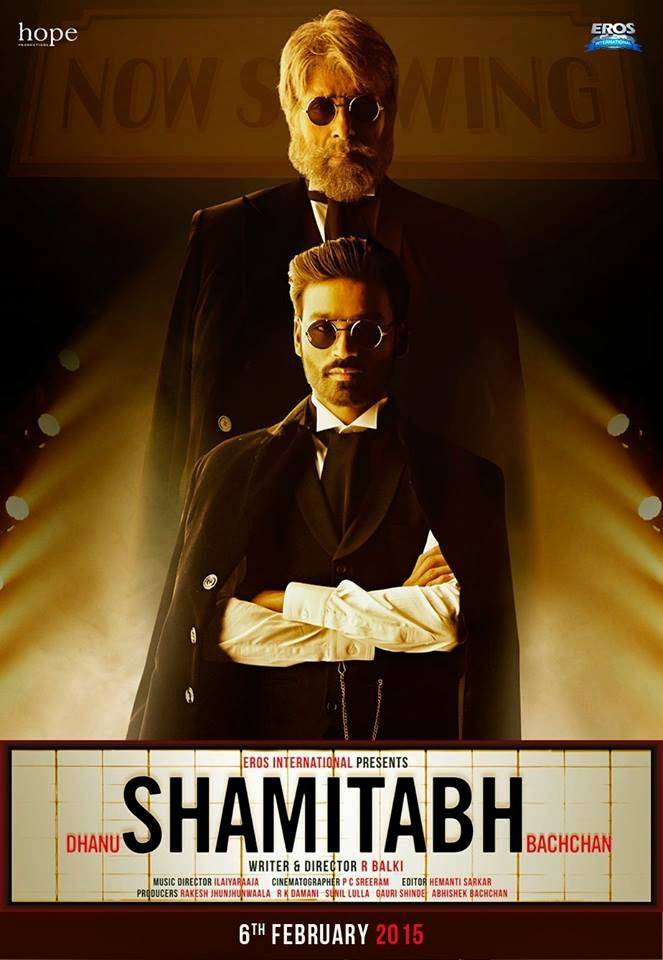First Look poster of Shamitabh ft Amithabh and Dhanush