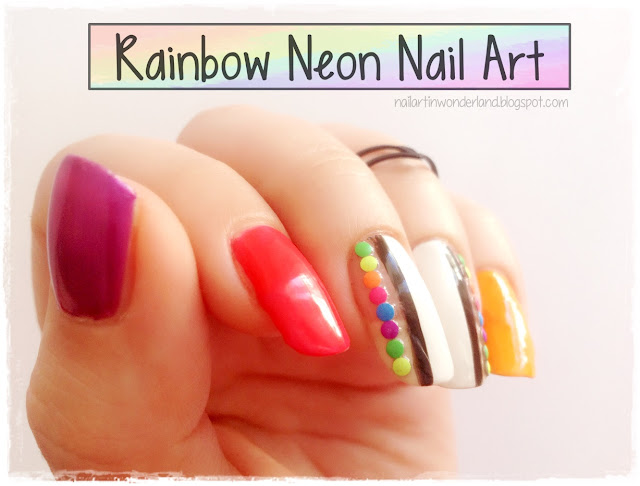 Twinsie Tuesday: Studs and Embellishments | Rainbow Neon Nail Art