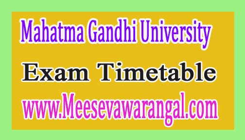 Mahatma Gandhi University M.C.A III and V Sem Jan 2017 Exam Time Table