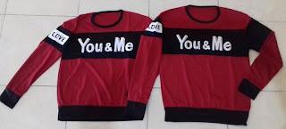 Jual Online Sweater You Me Neo Maroon Couple Murah Jakarta Bahan Babytery Terbaru