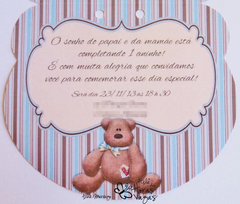 convite artesanal infantil aniversário 1 aninho formato cabeça de urso ursinho poá azul e marrom