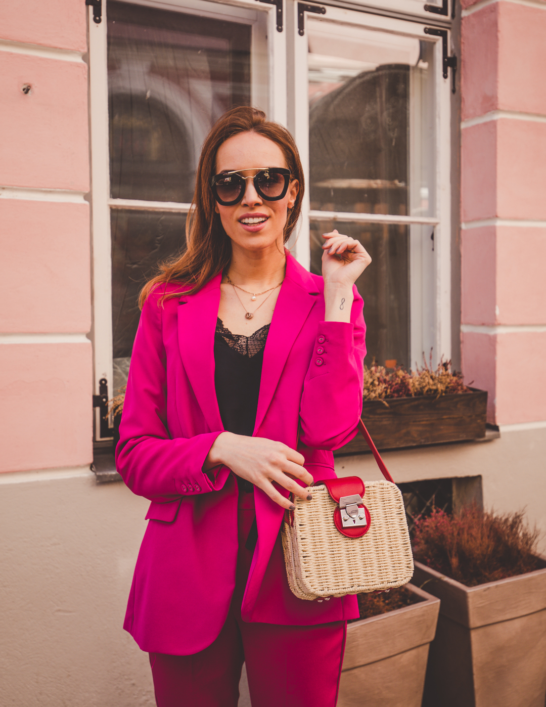 pink suit straw bag spring outfit