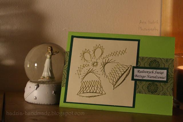 627. Zielona kartka bożonarodzeniowa z dzwoneczkiem
