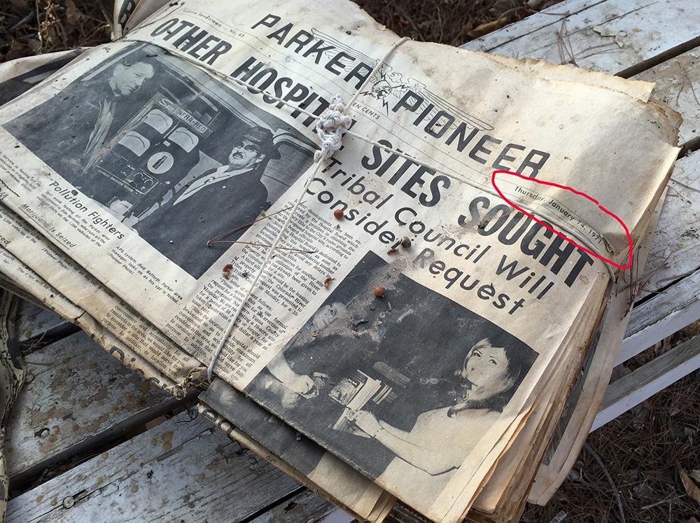 1971 newspapers in Poston Arizona Internment Camp warehouse