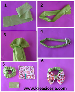 Tutorial cara membuat ikat rambut dari kain perca