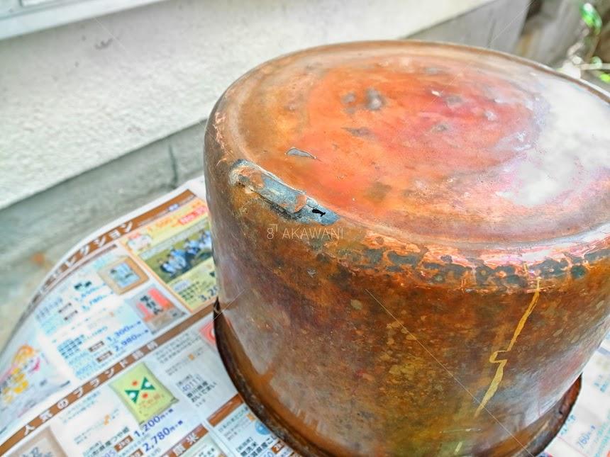 洗い桶の鋳掛修理 以前の修理跡 薬缶の修理