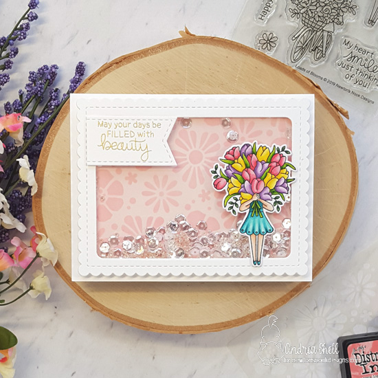 Spring card with tulips by Andrea Shell | Loads of Blooms Stamp Set and Bold Blooms Stencil by Newton's Nook Designs