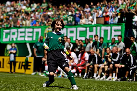 Atticus Lane-Dupre reacts after scoring the winning goal for The Green Machine