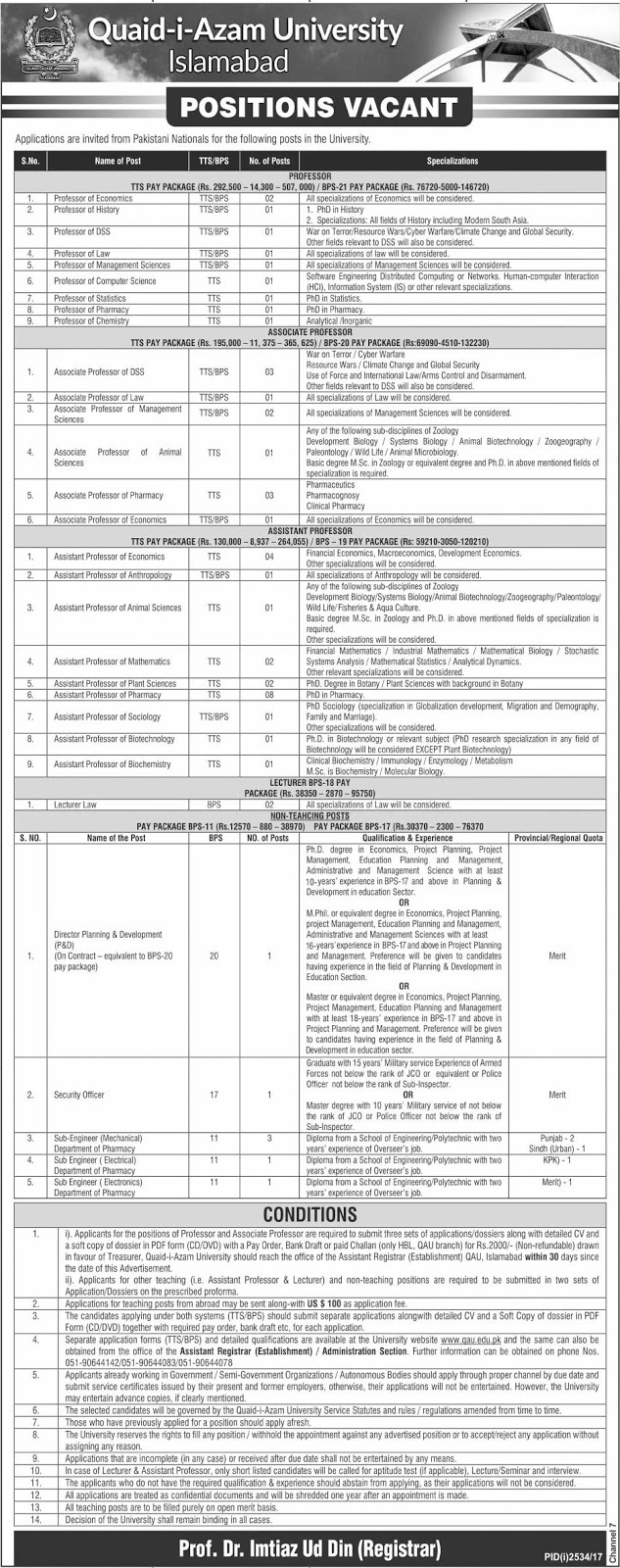 Quaid-i-Azam University Jobs in Islamabad Jobs 2018