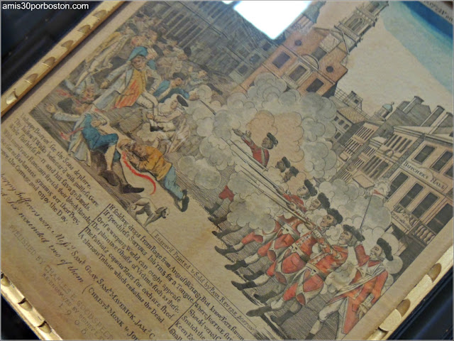 Masacre de Boston según Paul Revere en el Old State House de Boston