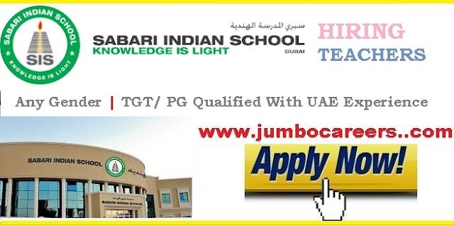 Sabari Indian School (SIS) Dubai Latest Job Vacancies for Teachers