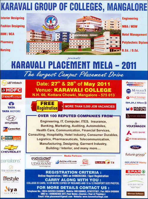 True Gift Karavali Group Of Colleges Job Fair May 27th 28th 2011 Karavali Placement Mela 2011 Karavali Job Fair May 27th 28th 2011