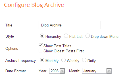 blog archive widget config blogger
