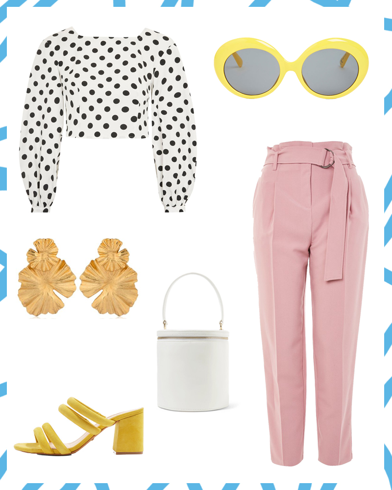 spring trends, outfit idea, pink trousers, yellow sunglasses, strappy mules, staud bucket bag, polka dot, cropped blouse