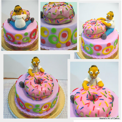 A cake decorated with Homer Simpson and a donut.